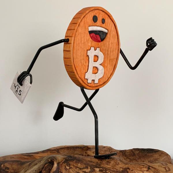Running Bitcoin sculpture