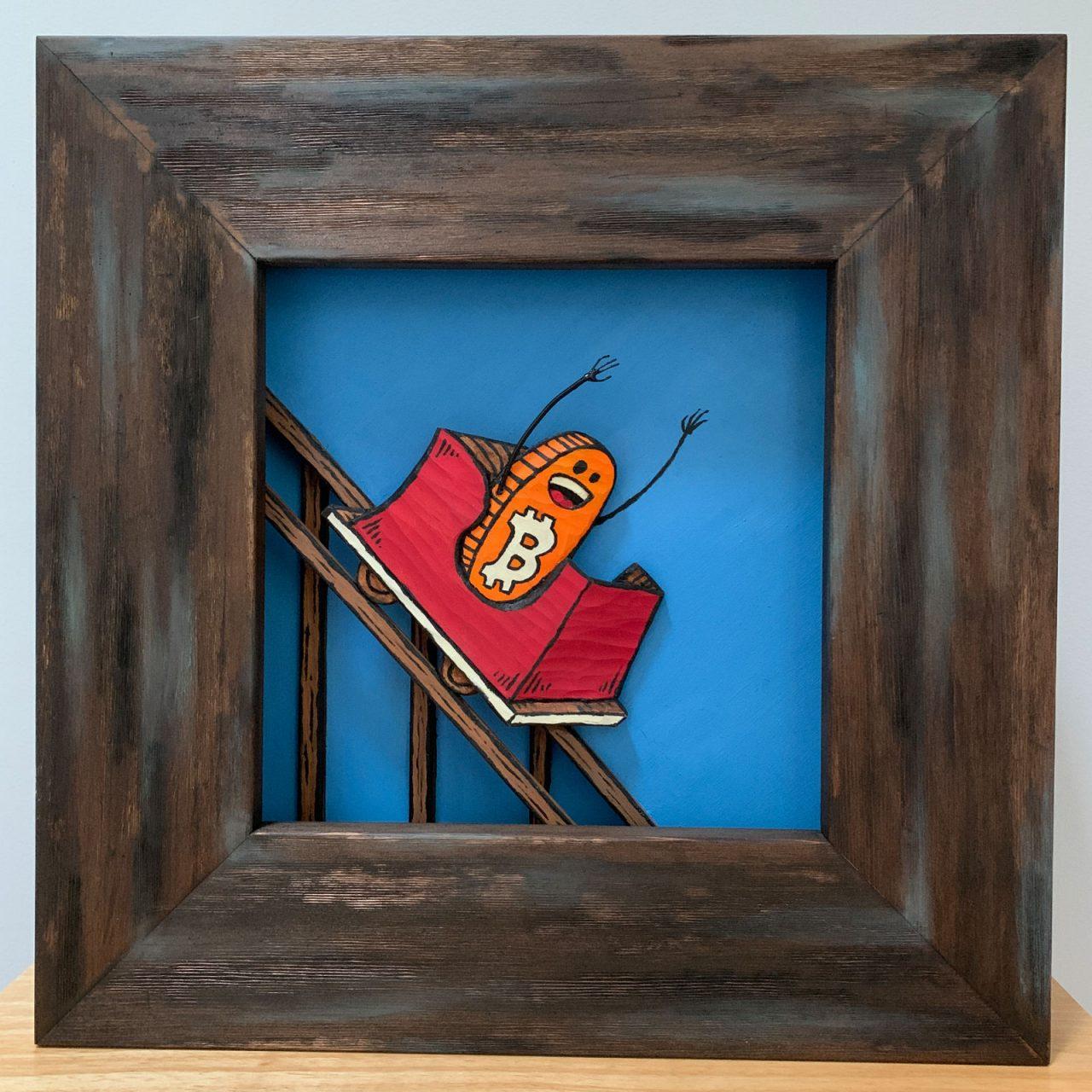 bitcoin coaster down sculpture
